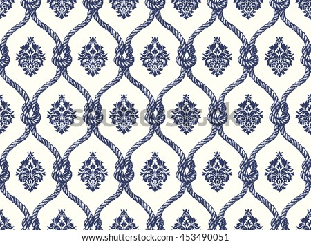 Rope seamless tied fishnet damask pattern. Vector Wallpaper - stock vector