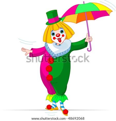 Rope-walker Clown girl with umbrella - stock vector