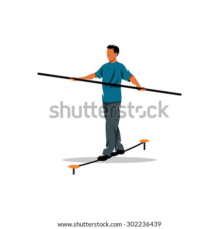 Rope walker man sign. Funambulist. Vector Illustration.  Branding Identity Corporate logo design template Isolated on a white background - stock vector