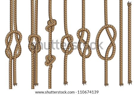 Rope with different knots Part 1  (illustration set seamless vector) - stock vector