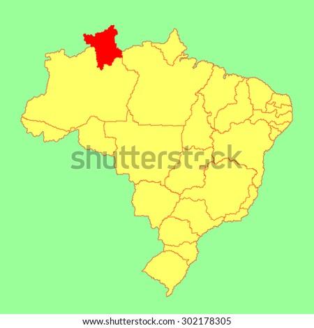 Roraima, Brazil, vector map isolated on Brazil map. Editable vector map of Brazil.  - stock vector