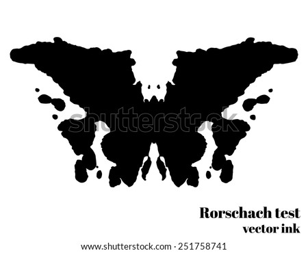 Rorschach test ink blot vector illustration psychological test silhouette butterfly isolated vector