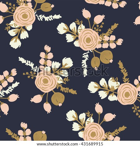 Rosa Blush Noisette. Hand drawn seamless modern rose floral pattern