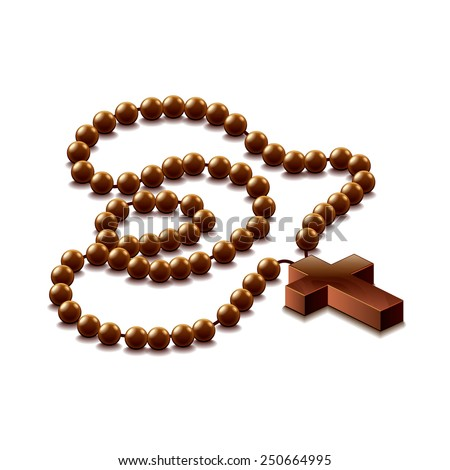 Rosary with cross isolated on white photo-realistic vector illustration - stock vector