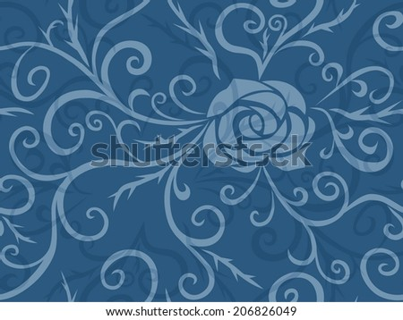 Rose and thorns seamless pattern - stock vector