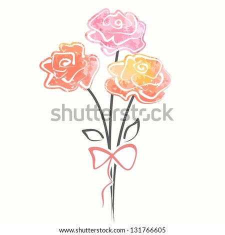 Rose bouquet. Vector watercolor illustration with flowers. - stock vector