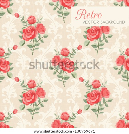 Rose classic seamless floral pattern - stock vector