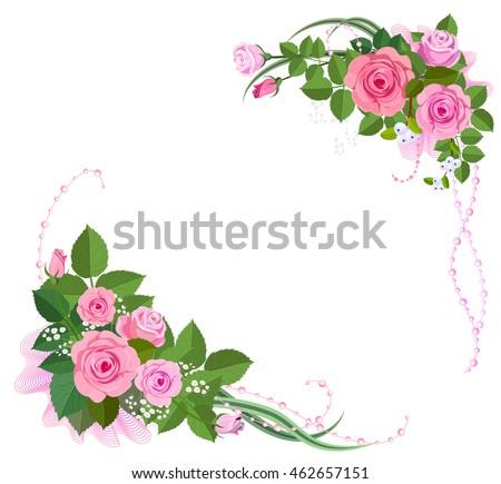 Rose Corner Vector Illustration Isolated On White Floral Elemrnts For Design Greeting Card