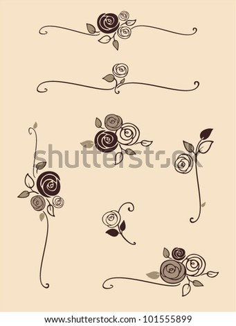 rose decorative elements - stock vector