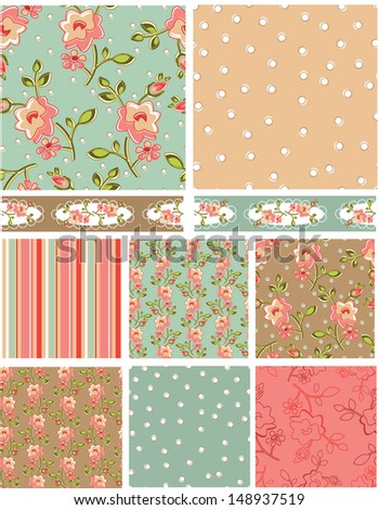 Rose Floral Vector Patterns.  Use as pattern fills to create stunning items for art and craft projects. - stock vector