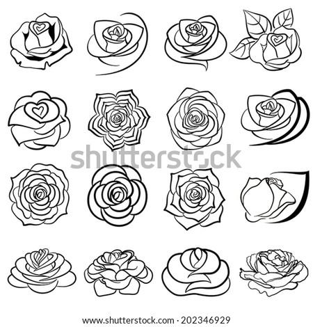 Rose flower. Black version of the logo - stock vector