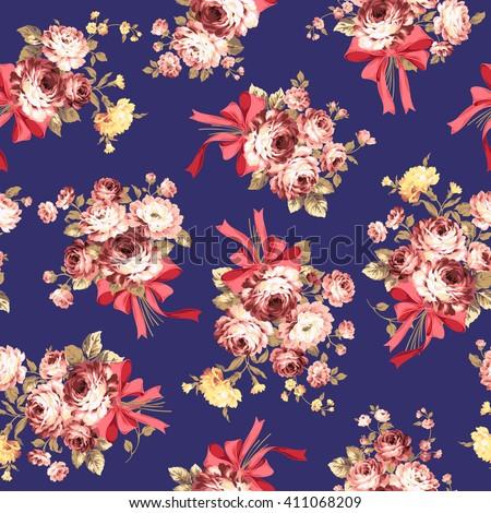 Rose flower pattern, - stock vector