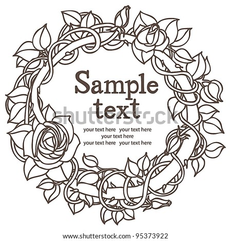 Rose flower round design card - stock vector