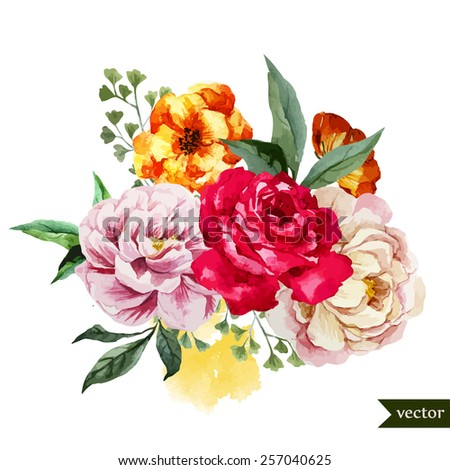 rose, flowers, Blob, watercolor, bouquet - stock vector