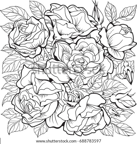 rose flowers coloring page line art drawing