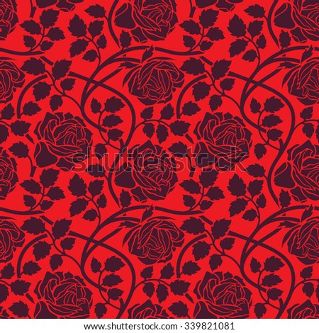 Rose flowers seamless background. Floral ornament with flower head, leaves and liana, wavy branches foliate pattern in red colors.