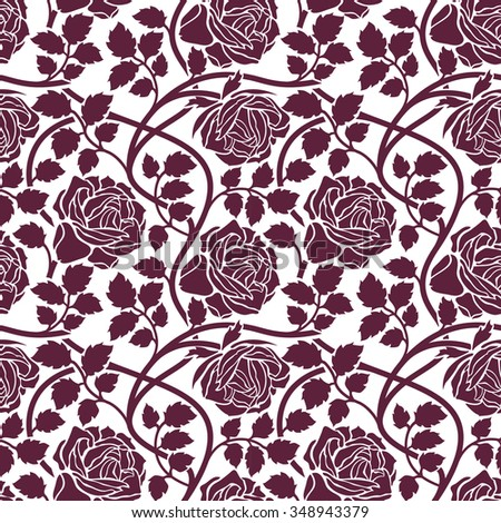 Rose flowers seamless background. Floral ornament with flower head, leaves and lianas, wavy branches foliate pattern. Purple and white stylish tracery.