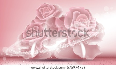 Rose flowers sparkling background. Ads template, droplet mock up isolated on dazzling roses backdrop. Place for brand text. Glamorous fragrance effects. Vector illustration