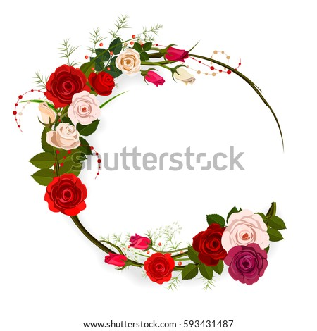 Rose Frame Background Circle Floral With White And Red Flowers Isolated On