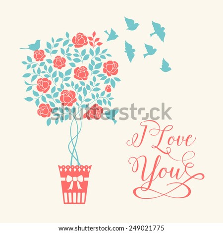 Rose garden tree with birds over white background with elegant I love you sign. Vector illustration - stock vector