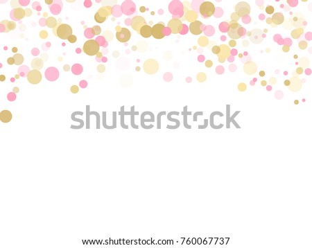 Rose Gold Confetti Circle Decoration For Christmas Card Background Holiday Vector Illustration