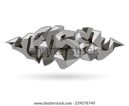 Rose inscription black and white text. Graffiti style.  abstract design, lowpoly, vector illustration