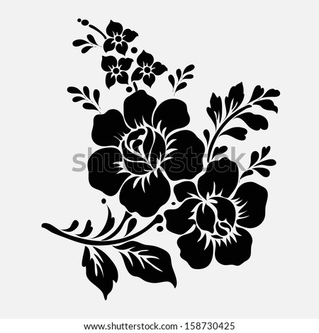 Rose Motifflower Design Elements Vector Stock Vector 158730416 ...