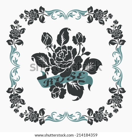 Rose motif,Flower design elements vector,Rose border - stock vector