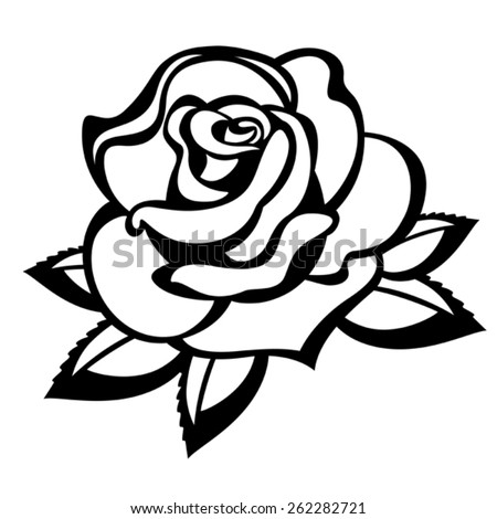 Rose on a white background. Black and white - stock vector