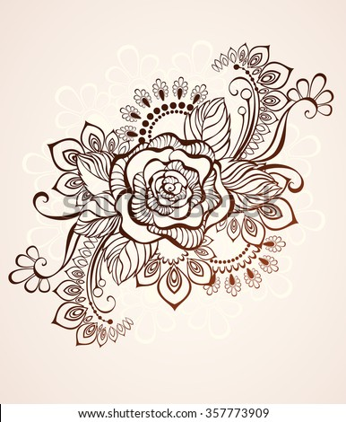 Rose painted in the style of mehendi on a beige background.