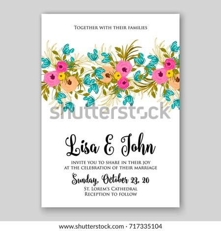 Rose peony ranunculus wedding invitation autumn stock vector rose peony ranunculus wedding invitation autumn vector design stopboris Images