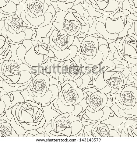Rose seamless background. Vector illustration. - stock vector