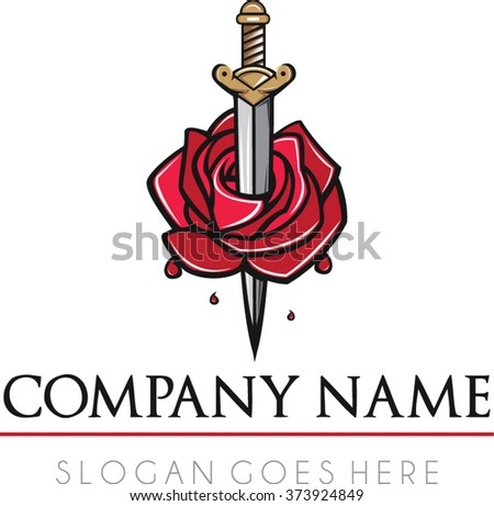 Rose sword logo vector | Flat sword medieval romance logo vector | Romeo and Juliet logo vector | Tattoo business logo vector - stock vector