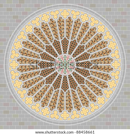 Rose window - stock vector