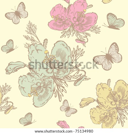 Roses and butterflies. Vintage seamless pattern - stock vector