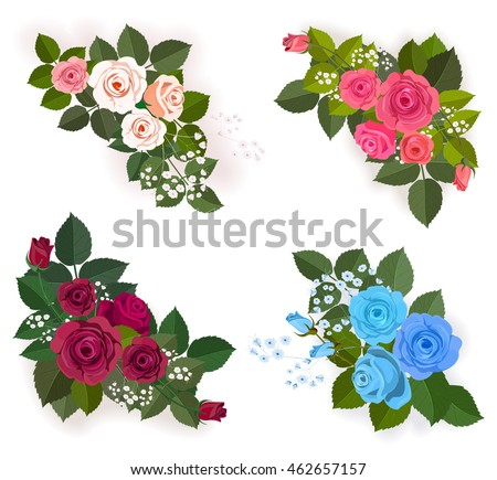 Roses And Leaves Corner Elements Floral Elemrnts For Design Greeting Card Border Frame