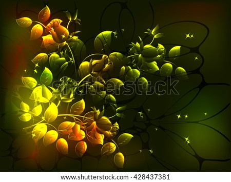 Roses and stars on a dark background. EPS10 vector illustration - stock vector