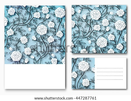 Roses backgrounds or cards. Vector blue colorful, vintage template in watercolor.