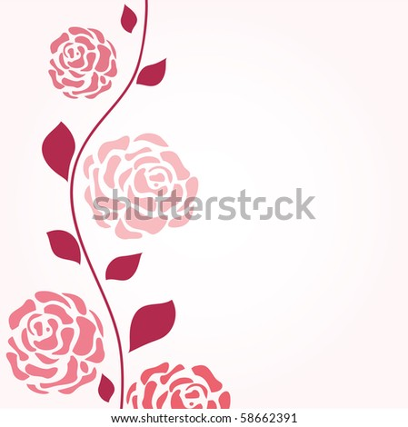 Roses branch - stock vector