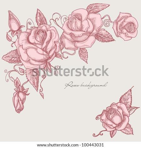 Roses corner ornaments - stock vector