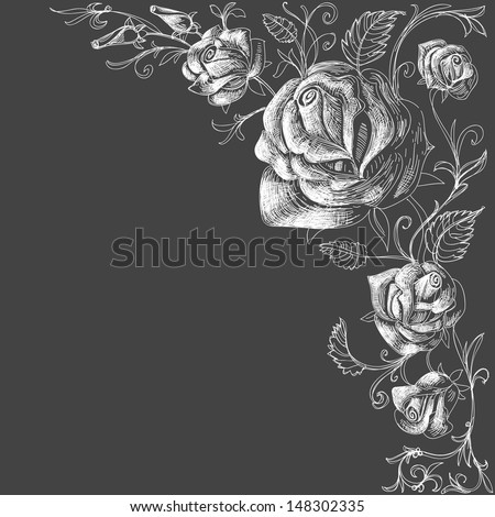 Roses decoration over dark background vector - stock vector