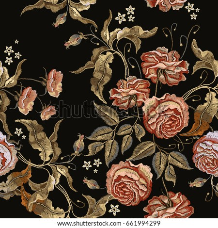 Roses embroidery seamless pattern. Classical embroidery vintage buds of roses on black background. Fashionable template for design of clothes, t-shirt design, tapestry flowers renaissance style vector