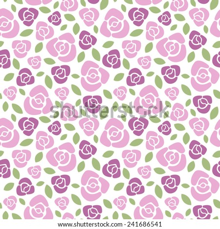 Roses floral vector seamless pattern. - stock vector