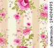Roses, floral wallpaper, seamless pattern. Vector illustration. - stock