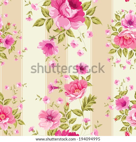 Roses, floral wallpaper, seamless pattern. Vector illustration. - stock vector