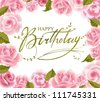 Roses frame for  Birthday  greeting card in vector - stock vector