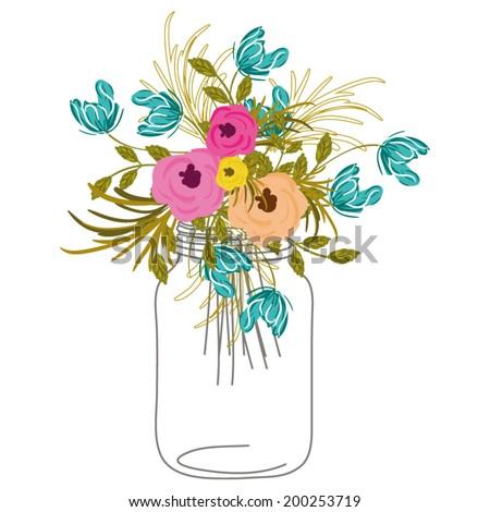 Roses In Mason Jar - stock vector