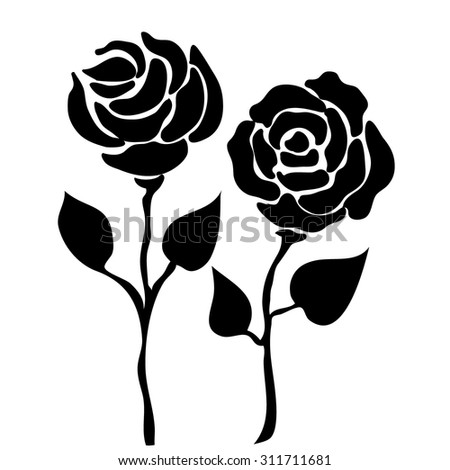 Roses linear pattern. Black. Backgrounds & textures shop.