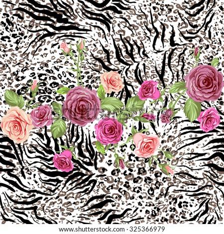 Roses on animal skin. Fashion seamless pattern - stock vector