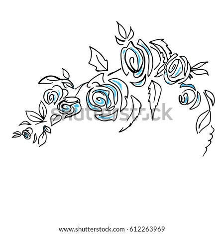 Roses pattern. Roses branch with leaves. Hand drawn sketch vector illustration on white background.